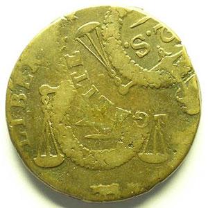 2 Sols aux balances non daté   ND(1794) Pau   double frappe    TB+