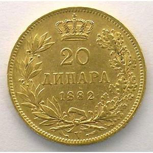 20 Dinars   1882 V  (Vienne)    TTB+