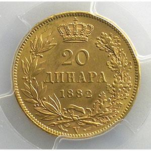 20 Dinars   1882  (Vienne)    PCGS-MS62    SUP/FDC