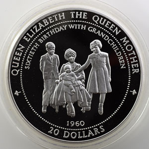 20 Dollars   1996   1960 - 60° anniversaire de la Reine mère, Lady of the century   5 onces argent 999 mill.   65mm    BE/Proof