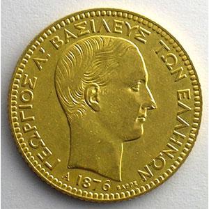 20 Drachmes   1876 A  (Paris)    TB+/TTB
