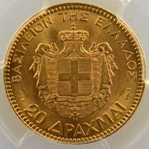 20 Drachmes   1884 A  (Paris)    PCGS-MS63+    SUP/FDC