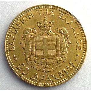 20 Drachmes   1884 A  (Paris)    TTB+