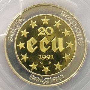 20 écu   1991    PCGS-PR68DCAM    BE