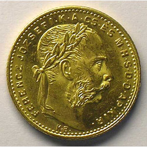 20 Fr / 8 Forint   1882 KB (Kremnitz)    SUP