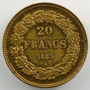 20 Francs   1835   Refrappe en bronze, tranche lisse    FDC