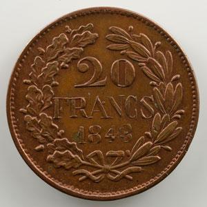 20 Francs   1848   premier concours de Gayrard   cuivre, tranche lisse    SUP