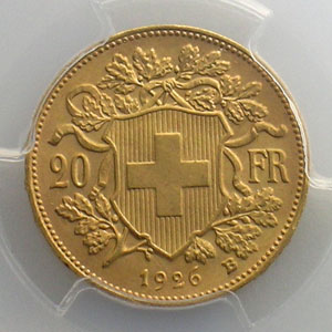20 Francs   1926 B  (Berne)    PCGS-MS64    pr.FDC