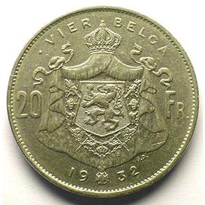 20 Francs - 4 Belga   légende flamande   1932    TTB