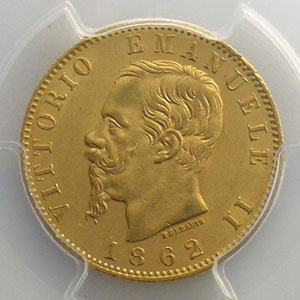 20 Lire   1862 T  (Turin/Torino)    PCGS-MS63    SUP/FDC