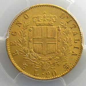 20 Lire   1865 T  (Turin)    PCGS-MS63    SUP/FDC