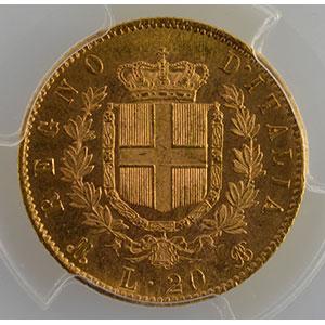 20 Lire   1873 M  (Milan)    PCGS-MS63+    SUP/FDC