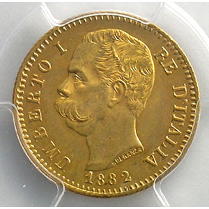 20 Lire 1882 R  (Rome)    PCGS-MS63    SUP/FDC
