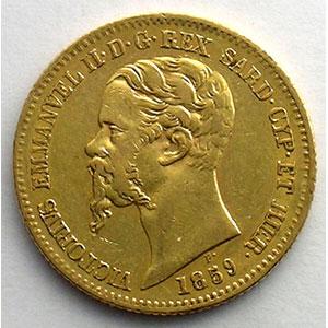 20 Lire   Victor-Emmanuel II (1849-1861)   1859 P  (Gênes/Genova)    TB+/TTB
