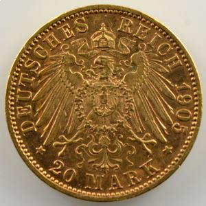 20 Mark   1905 D  (Münich)    TTB