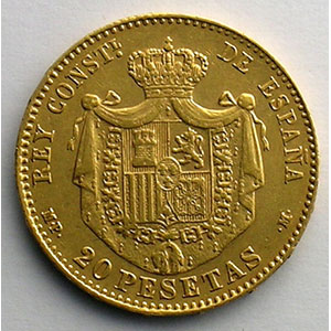 20 Pesetas   1890 MPM  (Madrid)   (18 - 90 dans les étoiles)    TTB