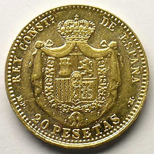 20 Pesetas   1890 MPM  (Madrid)   (18 - 90 dans les étoiles)    TTB+