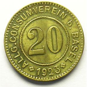 20 (Rappen) 1923   Lt, R,   21 mm   TTB