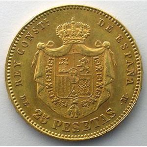 25 Pesetas   1876 DE-M    TTB+