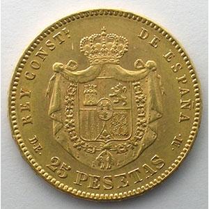 25 Pesetas   1877 DE-M    TTB+/SUP