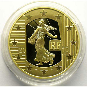 250 €   2010 piéfort en or   50° anniversaire du nouveau franc 1960-2010    BE