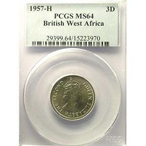 3 Pence   1957 H (Heaton)   PCGS-MS64    pr.FDC