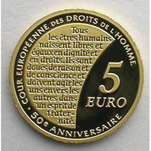 5 €   2009   50° anniversaire de la Cour Européenne des Droits de l'Homme    BE