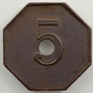 5 (c)   octogonal en laiton, troué  23mm    TTB