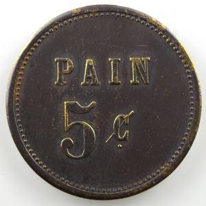 5 c   Pain   jeton rond en laiton    TTB+