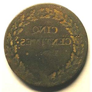 5 cent.   Directoire   AN 5 R (Orléans)   revers    B/TB