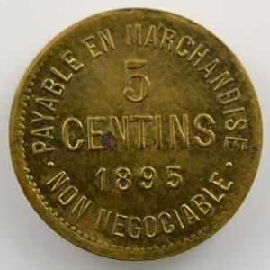 5 Centins   P.A. Theriault, Epicier   Montreal   1895  Lt,R  16mm    SUP