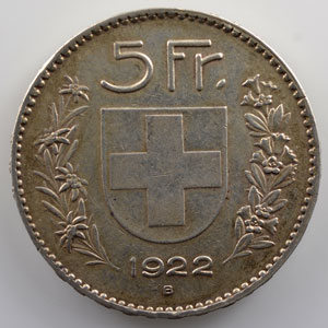 5 Francs   1922 B    TB+/TTB