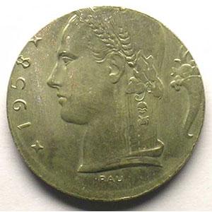 5 Francs 1958  FR  sur flan de 1 Franc    FDC