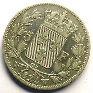 5 Francs   Louis XVIII   1824 W  (Lille)   coins tournés à 30°    TB+