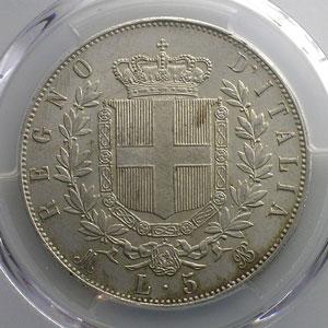 5 Lire   1869 M BN  (Milan)    PCGS-MS63    SUP/FDC
