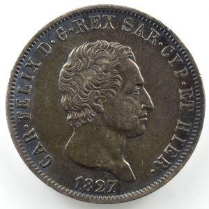 5 Lire   Charles-Félix (1821-1831)   1827 P  ancre  (Gênes/Genova)    TB+/TTB