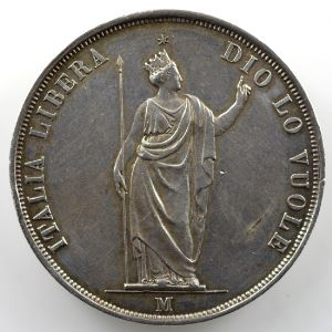5 Lire   (Gouvernement provisoire 1848)   1848 M (Milan/Milano)    TTB+/SUP