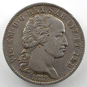 5 Lire   Victor-Emmanuel I (1802-1821)   1818  (Turin/Torino)    TB+/TTB