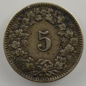 5 Rappen   1876 B    TB+/TTB