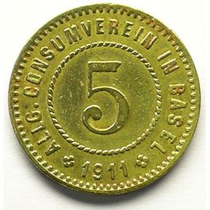 5 (Rappen) 1911   Lt, R,   19 mm   TTB