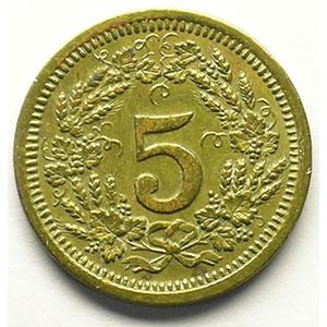 5 (Rappen) 1923   Lt, R,   19 mm   TTB