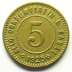 5 (Rappen) 1925   Lt, R,   19 mm   TTB+