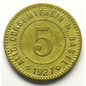 5 (Rappen) 1927   Lt, R,   19 mm   TTB