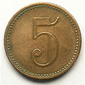 5 (Rappen)   Cu, R,   18,7 mm   TTB
