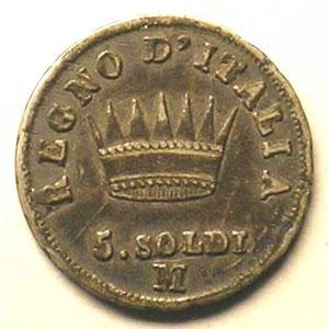 5 Soldi   Napoléon I   M (Milan)   revers    TB+