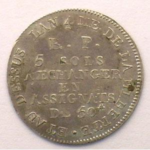 5 Sols   1792   3° type : petit 5 et 50#    TTB+