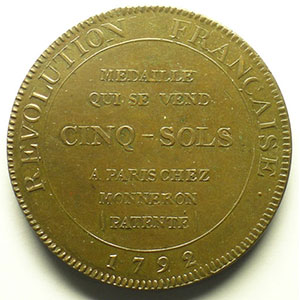 5 Sols   1792, An IV   cuivre    SUP
