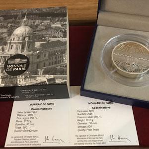 50 €   Unesco - Rives de la Seine, Invalides et Grand Palais   2015   163.8 g argent 950 mill.    BE