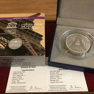 50 €   Unesco - Rives de la Seine, Tour Eiffel et Palais de Chaillot   2014   163.8 g argent 950 mill.    BE