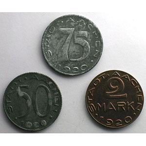 50, 75 (Pf), 2 Mark   1920    TTB+/SUP